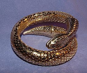 Whiting Davis Gold Flexible Snake Bracelet Signed