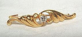 Art Nouveau 14K Gold Diamond Brooch