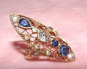 18K Yellow Gold Edwardian Diamond Sapphire Ring