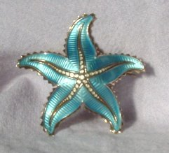 David Andersen Sterling Silver Enamel Starfish Pin
