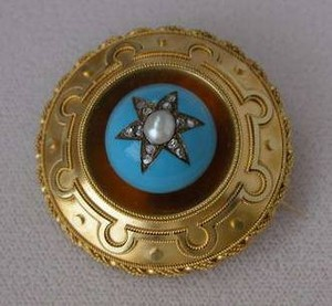 Victorian Gold Enamel Pearl Diamond Mourning Pin