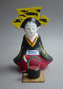 Miharu Hariko Papier-mache Doll, Sake Serving Girl