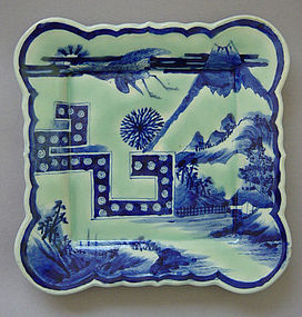 Imari Sometsuke Kakuzara, Square Blue-Green Imari Plate