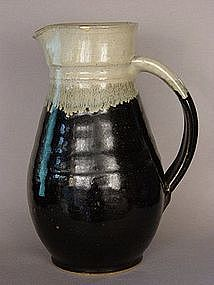 Mashiko Yaki, Black Glaze Pitcher, ca. 1965