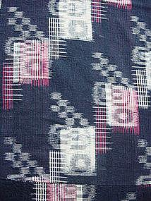 Kasuri Futonji; Indigo-dyed, Ikat Woven Bed Cover