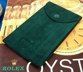 Green Suede Pocket Pouch, marked: ROLEX 5 by 3 inches
