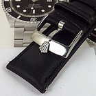 ROLEX 18mm Buckle SUBMARINER GMT 20mm Black Leather Stitched Strap