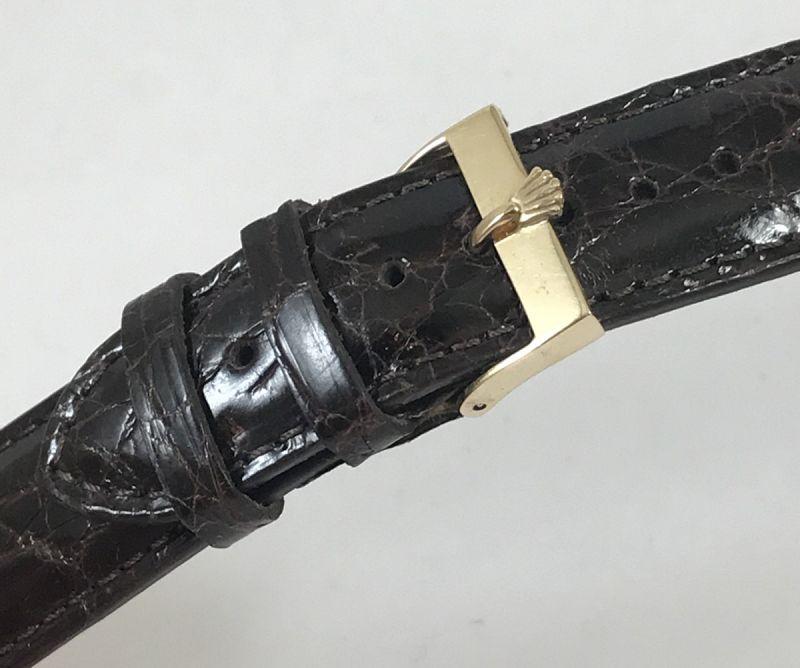 Vintage Rolex 18mm Logo Buckle 14k GOLD 20mm CROCODILE