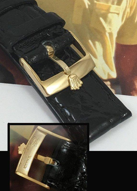 ROLEX 18mm Rolex Yellow 18k Gold Plate 20mm CROCODILE Strap