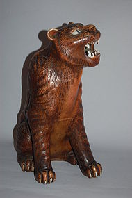 Ceramic figure of a tiger, Japan, Showa period