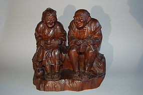 Wood sculpture, man, woman, Japan, Taisho era