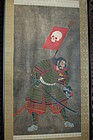 Warrior, skull flag, severed head, Kuniyoshi style, Japan, 19th c