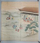 Hand-painted and embroidered silk fukusa, Genji scene, Japan Meiji era