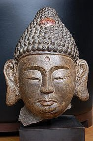 Stone head of Buddha, China, Liao dynasty