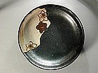Five small stoneware dishes, kuro oribe, Japan 20th c