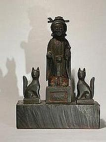 Sculpture of female deity and foxes, Japan, 19th c.