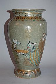 Celadon vase with cat and mice, Japan, Meiji/Taisho era