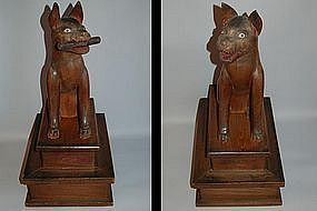 Pair of wooden guardian foxes, Japan, Meiji era