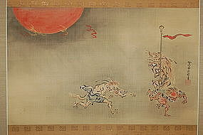 Scroll painting, goblins, Kano Seisenin, Japan, 19th c