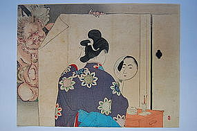 Mizuno Toshikata, shin hanga, woman and demons, Japan