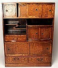 Tea chest chadansu, mulberry wood, Japan, Taisho era