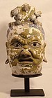 Yuan Dynasty stucco Lokapala head