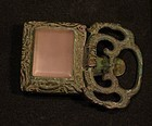 Sung - Ming Dynasty belt plaque in cast bronze with rose quartz gem