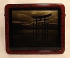 Japanese orotone photograph of Itsukushima Shrine at sea