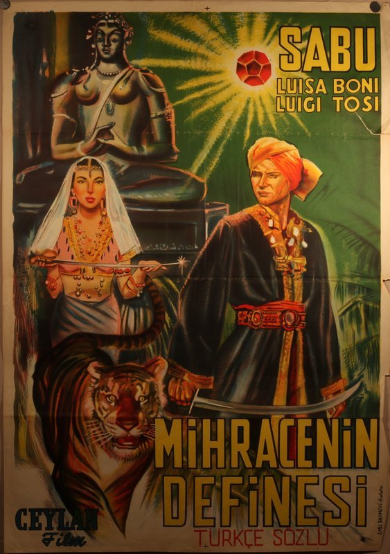 Vintage Turkish release of the serial Sabu nice lithograph poster