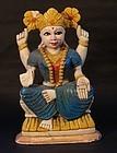 Late 19thc Hindu painted soapstone Deity of a sun Goddess