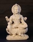 19thc Hindu white marble Saraswati statue