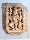 16-18thc Hindu sandstone Temple panel of Lakshmi