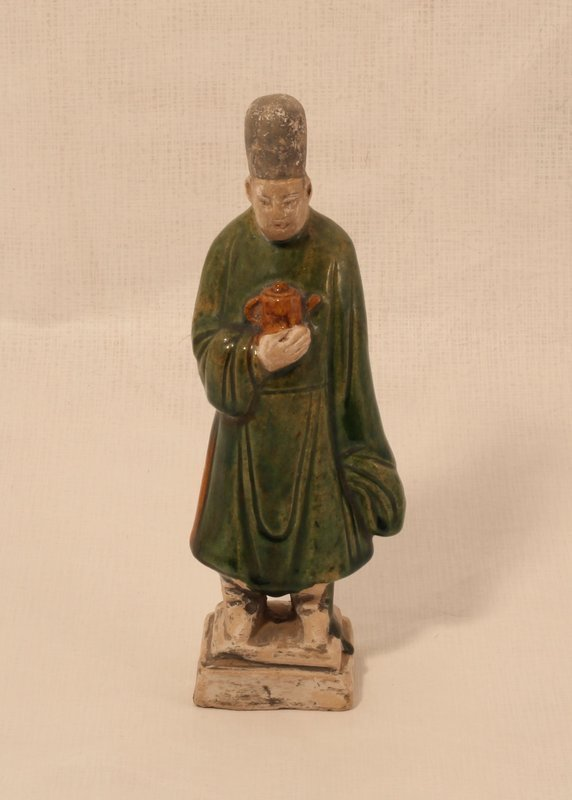 Chinese Ming Dynasty green glazed burial figure of an attendant