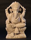 19th c Hindu seatite carved stone altar statue of Ganesha