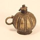 Antique Orissa village lost wax cast ball shaped oil lamp, mid 19th c