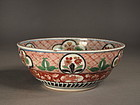 Japanese Imari porcelain brocade enameled bowl