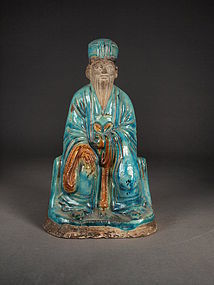 Chinese earthenware fahua figure