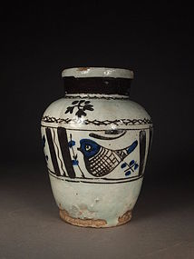 Persian cobalt blue / iron brown glazed jar