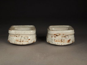 Japanese Shino ware mukozuke dishes (pair)