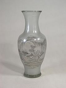 Beijing glass vase with landscape scene