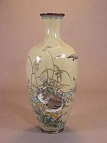 Japanese cloisonne vase with scene of geese