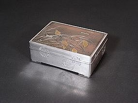 Japanese silver box with dragonfly design
