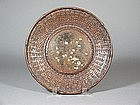 Japanese bronze and copper dish imitating basketwork