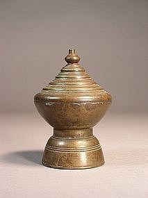 Burmese bronze stupa-form offering container