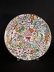 Chinese mille-fleurs enameled porcelain plate