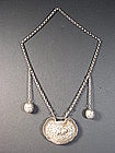 Chinese silver necklace with lock pendant