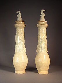 Pair of Chinese Qingbai offering jars