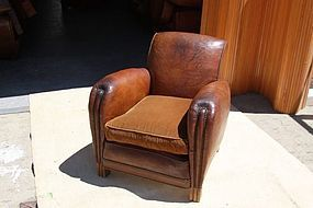 Vintage French Leather Club Chair 16�me Lounge Single