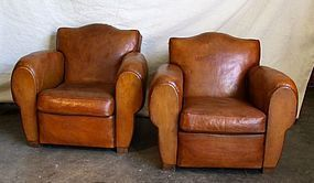 Vintage French Club Chairs Gendarme Geneva Pair