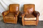 Vintage French Club Chairs Verizon Slopeback Pair